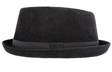 Sombrero de Pana Negro Hawkins Pork Pie